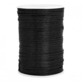 Satijn koord rond 2.5mm black (per meter)
