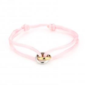 Satijnen armband goud met zilver verbonden cirkels stainless steel light pink