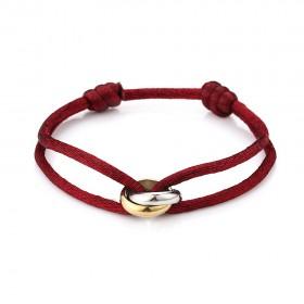 Satijnen armband goud met zilver verbonden cirkels stainless steel rood