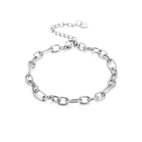 Schakelarmband chunky chain stainless steel zilver (16+3cm)