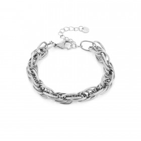 Schakelarmband chunky connected oval stainless steel zilver (16+3cm)