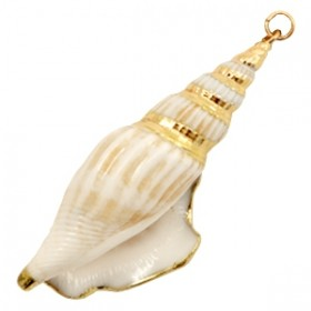 Schelp hanger 61x15mm wulk cream beige-gold
