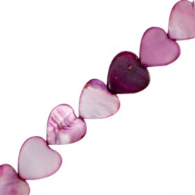 Schelp kraal hartje purple 10mm