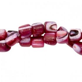 Schelp kraal tube port red 4x3.5mm
