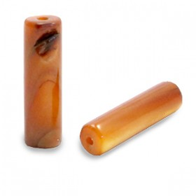 Schelpkraal tube donker goudbruin 14x4mm