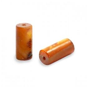 Schelpkraal tube donker goudbruin 8x4mm