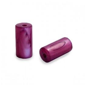 Schelpkraal tube port rood paars 8x4mm