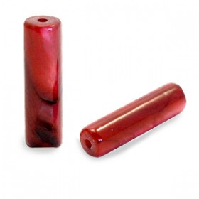 Schelpkraal tube ruby rood 14x4mm