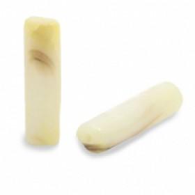 Schelpkraal tube vanille geel 14x4mm