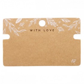 Sieraden kaartjes 'with love' Floral Brown smalle uitsparing