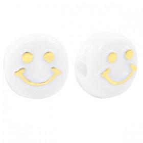 smiley kraal rond 10mm wit goud
