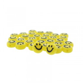 smiley kraal rond 7mm geel (per stuk)