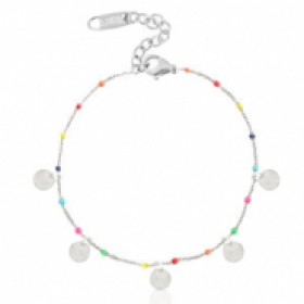 Stainless steel armband coin rainbow zilver