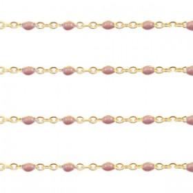 Stainless steel balletjes jasseron 1mm vintage rose-goud per 20cm