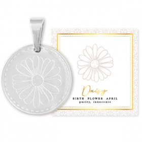 Stainless steel bedel birth flower april daisy rond 15mm zilver