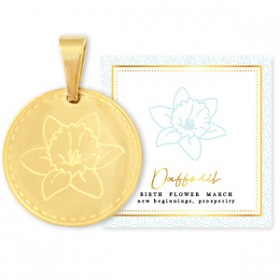 Stainless steel bedel birth flower march daffodil rond 15mm goud