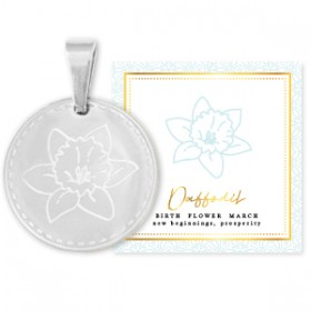 Stainless steel bedel birth flower march daffodil rond 15mm zilver