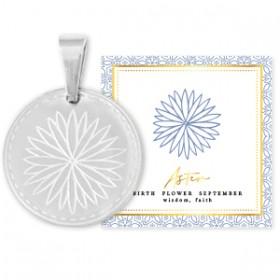 Stainless steel bedel birth flower september aster rond 15mm zilver