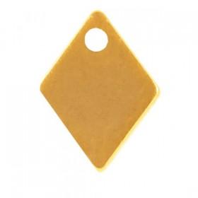 Stainless steel bedel ruit 9x7mm goud