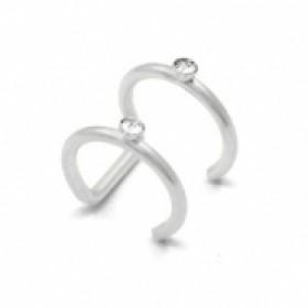 Stainless steel earcuff 2 layer diamond zilver 9mm