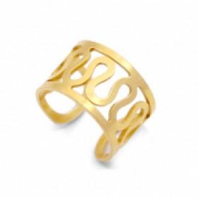 Stainless steel earcuff swirl goud 6mm