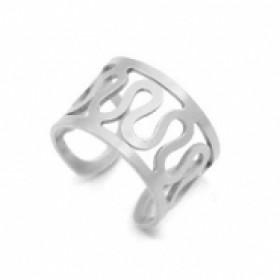 Stainless steel earcuff swirl zilver 6mm