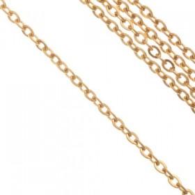 Fijne schakel ketting jasseron stainless steel 1,5mm goud