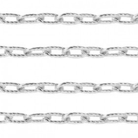 Stainless steel jasseron ankerketting 9x5mm zilver per 20cm