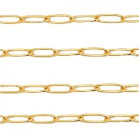 Stainless steel jasseron schakel 10x3mm goud per 20cm