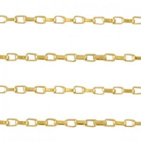 Stainless steel jasseron venetiaanse schakel 3x2mm goud per 20cm