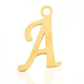 Stainless steel (RVS) initiaal bedel A - Z goud