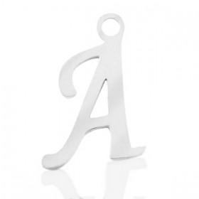 Stainless steel (RVS) initiaal bedel A - Z zilver