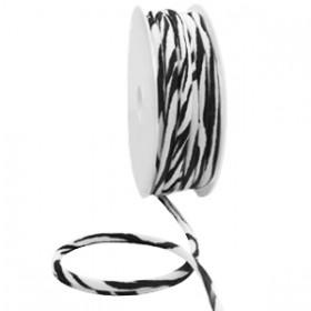 Stitched elastisch lint ibiza black-white zebra (per 25cm)