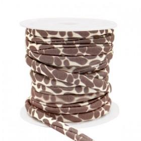 Stitched elastisch lint ibiza giraffe brown beige (per 25cm)