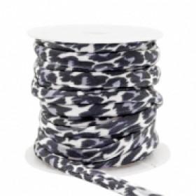 Stitched elastisch lint ibiza leopard grey black