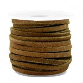 Suede DQ leer plat 3mm olive brown (per meter)