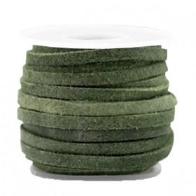 Suede DQ leer plat 3mm salvia green (per meter)