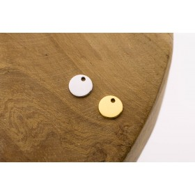 Karma symbols discus 925 sterling zilver en goldplated 8mm (per stuk)