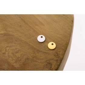 Karma symbols discus small 925 sterling zilver en goldplated 6mm (per stuk)