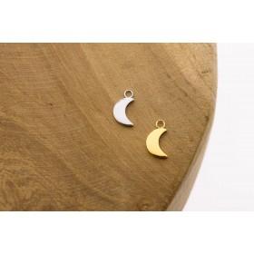 Karma symbols moon 925 sterling zilver en goldplated 10mm (per stuk)