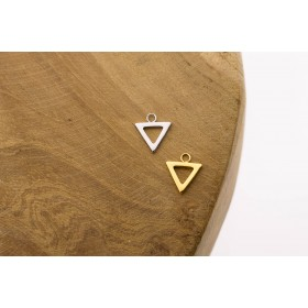 Karma symbols open triangle 925 sterling zilver en goldplated 10mm (per stuk)
