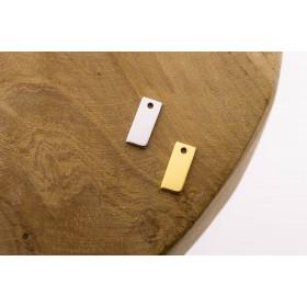 Karma symbols rectangle 925 sterling zilver en goldplated 11mm (per stuk)