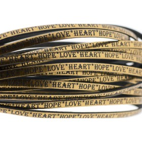 Tekst leer 'hope love heart' brons metallic 5mm (per 20cm)