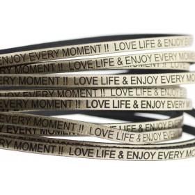 Tekst leer 'love life & enjoy every moment' goud metallic 5mm (per 20cm)