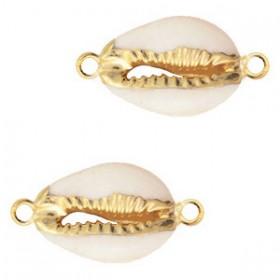 Tussenzetsel Kauri schelp hanger ca. 16-20mm cream beige gold