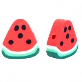 Watermeloen kraal red-green 11mm (per stuk)