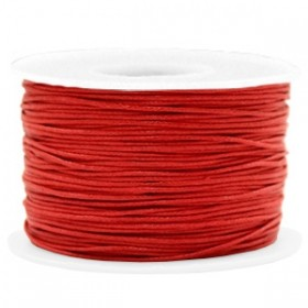 Waxkoord 1mm warm red per meter