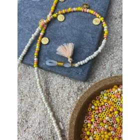 DIY pakket kralen zonnebrilkoord summermix met muntjes en roze kwastjes