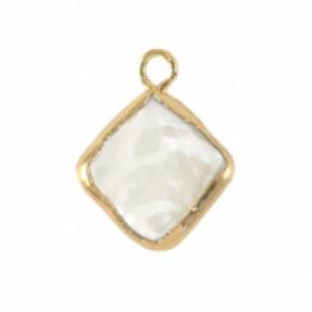 Zoetwaterparel bedel rhombus golden natural white 24x7mm