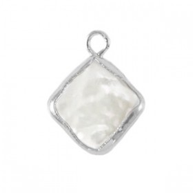 Zoetwaterparel bedel rhombus silver natural white 24x7mm
